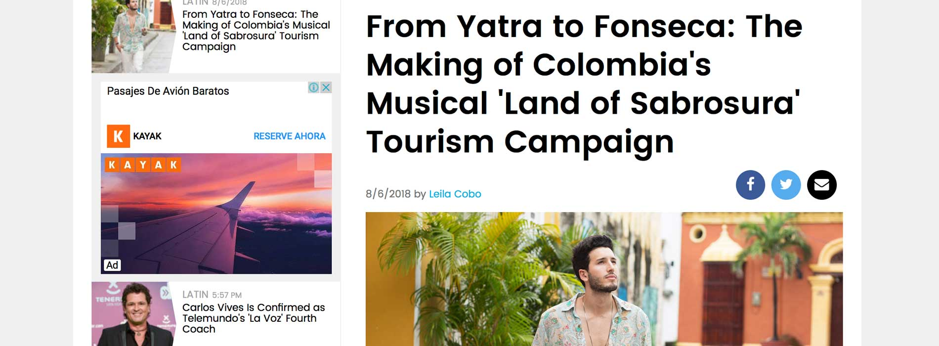 BILLBOARD: From Yatra to Fonseca: The Making of Colombia's Musical