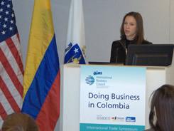 """La presidenta de PROCOLOMBIA, María Claudia Lacouture realizó la presentación en el evento """"Doing Business Colombia"""" que se realizó en Boston."""
