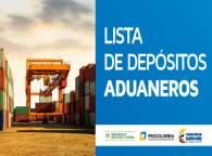 Listado de despósitos aduaneros