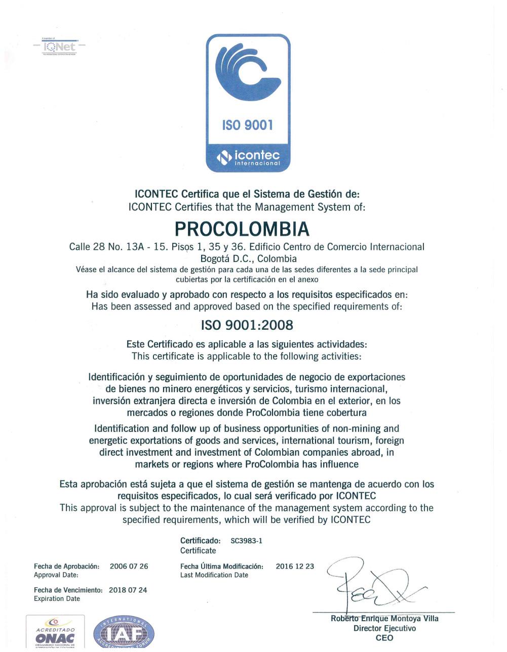 Certificado ISO 9001:2008 al sistema de gestión de cálida de PROCOLOMBIA
